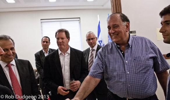 Haifa Mayor Yona Yahav greeting the visiting San Francisco Emergency Management Delegation.