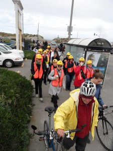 NERT volunteers walk away from Ocean Beach during the inaugural SF Tsunami Walk